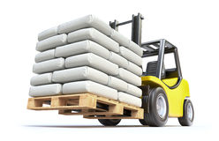 Forklift with white sacks Stock Images