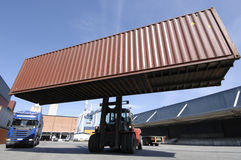 Forklift in wide perspective Stock Photography