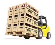 Forklift with wine bottles in wooden crates Stock Image