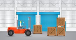 Forklift and wood crate Stock Photo