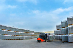Forklift work in the warehouse for the production of concrete blocks Stock Photos