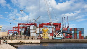 Forklift working in container terminal stock video footage