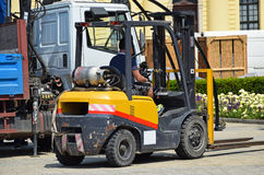 Forklift is working Stock Images