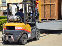 Forklift is working Stock Photo