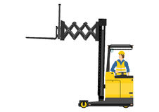 Forklift. Yellow forklift (reach truck) on a white background. Vector Stock Images