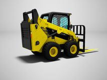 Forklift yellow with scuffs for loading 3d render on gray background with shadow vector illustration