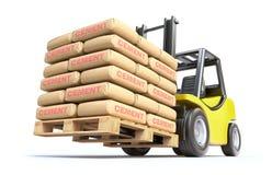 Forklift z cementowymi workami Fotografia Royalty Free