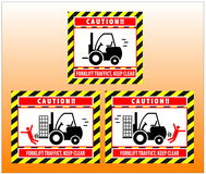 Forklift zone traffic caution keep clear Stock Image