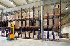 Forklifter warehouse Royalty Free Stock Image