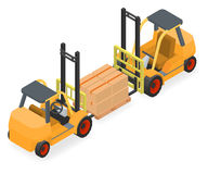 Forklifts elevate the pallet with cardboard boxes Royalty Free Stock Photo