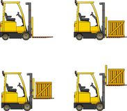 Forklifts. Heavy construction machines. Royalty Free Stock Image