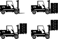 Forklifts. Heavy construction machines. Vector Stock Photos