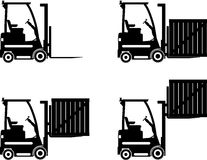 Forklifts. Heavy construction machines. Vector Stock Photo