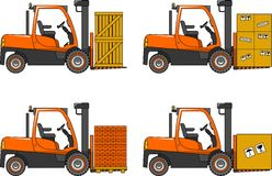 Forklifts. Heavy construction machines. Vector Royalty Free Stock Images