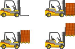 Forklifts. Heavy construction machines. Vector illustration Royalty Free Stock Images