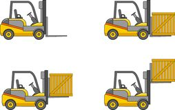 Forklifts. Heavy construction machines. Vector illustration Royalty Free Stock Photo