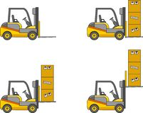 Forklifts. Heavy construction machines. Vector illustration Stock Photo