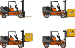 Forklifts. Heavy construction machines. Vector illustration Stock Image