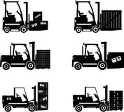 Forklifts. Heavy construction machines. Vector illustration Royalty Free Stock Photos