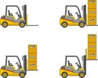 forklifts Maschinen des schweren Baus Auch im corel abgehobenen Betrag Stockfoto