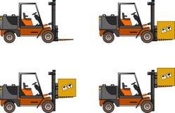 forklifts Maschinen des schweren Baus Auch im corel abgehobenen Betrag Stockbild