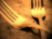 Forks. Silver forks on the table Stock Photography