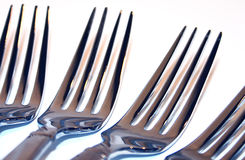 Forks. Macro of 4 Forks Royalty Free Stock Photo