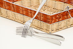 Forks and basket Stock Photography