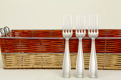 Forks and basket Royalty Free Stock Photo