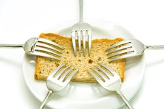 Forks and bread Royalty Free Stock Image