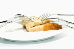 Forks and bread Stock Images