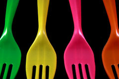 Forks in color isolated Royalty Free Stock Photography