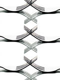 Forks creating patterns in black and white Royalty Free Stock Images