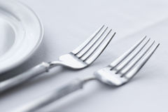Forks on Dining Table Royalty Free Stock Photography