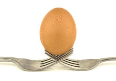 Forks with an egg on white background Stock Image
