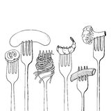 Forks with foods Stock Images