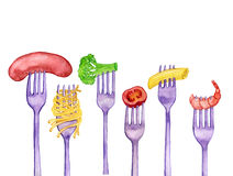 Forks with foods Stock Photos