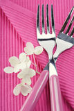 Forks and hydrangea flower Royalty Free Stock Images