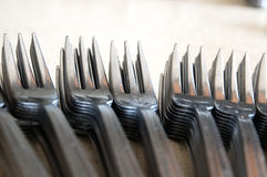 Forks on the kitchen counter. Stock Photo