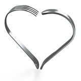 Forks and knife heart isolated Royalty Free Stock Photo