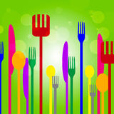 Forks Knives Shows Utensil Food And Green Stock Photos