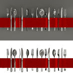 Forks, knives and spoon banner Royalty Free Stock Photos