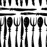 Forks, knives and spoons seamless pattern Stock Photos