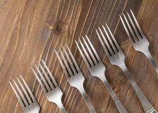 Forks. Lie on the table Stock Photography