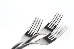 Forks over white. Forks isolated over white background Royalty Free Stock Photography