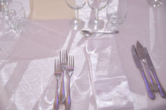 Forks placed on a table Royalty Free Stock Photo