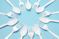 forks plastic knivar Arkivbild