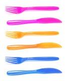 forks plastic knivar Royaltyfri Fotografi