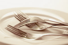 Forks on Plate Royalty Free Stock Photos