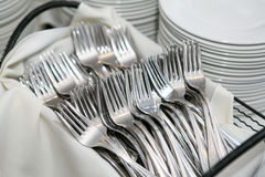 Forks and plates Royalty Free Stock Photos